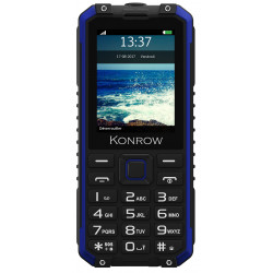 Konrow Stone Pro - Téléphone Antichoc - 2.4'' - Double Sim - IP68 - Power Bank  - Noir / Bleu