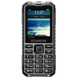 Konrow Stone Pro - Téléphone Antichoc Certifié IP68 - 2.4'' - Double Sim - Fonction Power Bank  - Noir / Gris