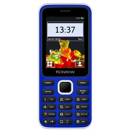 Konrow Sweet - Compact - Ecran 2.4'' - Double Sim - Radio FM - Bleu / Blanc