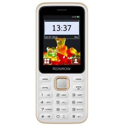 Konrow Sweet - Compact - Ecran 2.4'' - Double Sim - Radio FM - Blanc / Or