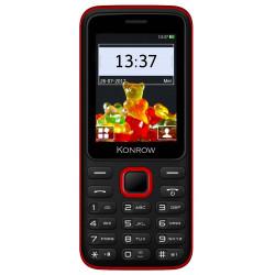 Konrow Sweet - Compact - Ecran 2.4'' - Double Sim - Radio FM - Noir / Rouge