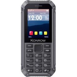 Konrow Stone Lite - Téléphone Antichoc Certifié IP65 - 2.4'' - Double Sim - Noir / Gris