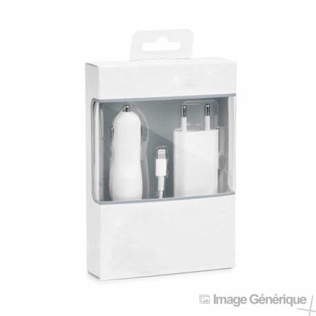 Chargeur 3 en 1 pour iPhone (Chargeur, Câble Lightning, Adaptateur Allume Cigare) - 1A - Blanc - Blister