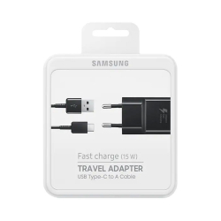 Samsung EP-TA20EBECGWW - Chargeur Secteur Complet - Adaptateur Fast Charge 2A & Câble USB Type-C - Noir (Emballage Originale)