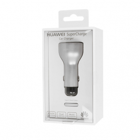 Huawei AP38 - Chargeur Voiture Complet, Adaptateur Fast Charge 2 Ports USB - 2A/5A - Gris (Emballage Originale)