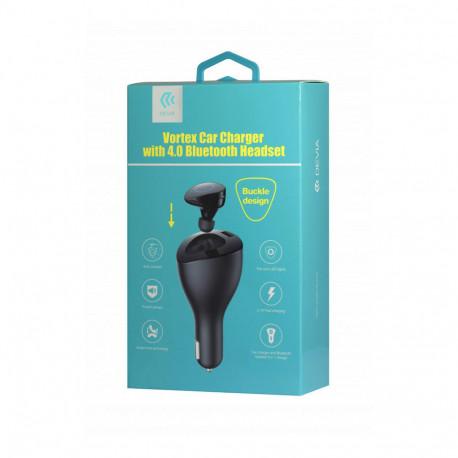 Adaptateur Allume Cigare USB Universel - 2.1A - Avec Oreillette Bluetooth - Noir (Emballage Originale)