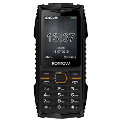 Konrow Stone Plus - Téléphone Antichoc Certifié IP68 - 2.4'' - Double Sim - Noir