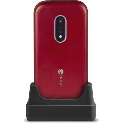 Doro 7030 Clapet - Double SIM - 4G - Rouge / Blanc