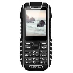 Konrow Stone - Téléphone Antichoc - 2.4'' - Double Sim - Noir / Blanc