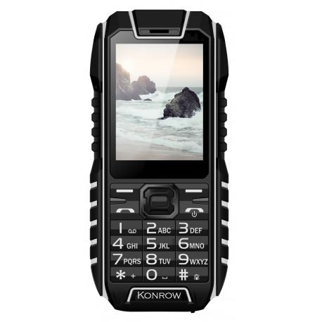 Téléphone Antichoc Konrow Stone - 2.4'' - Noir / Blanc