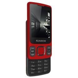 Konrow Slider - Téléphone Coulissant - Ecran 2.4'' - Double Sim - Rouge