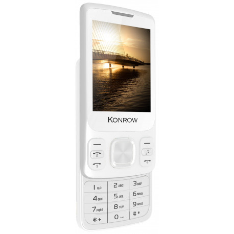 Konrow Slider - Téléphone Coulissant - Ecran 2.4'' - Double Sim - Blanc